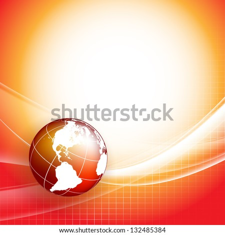 vector wavy lines with copy space and globe. eps10