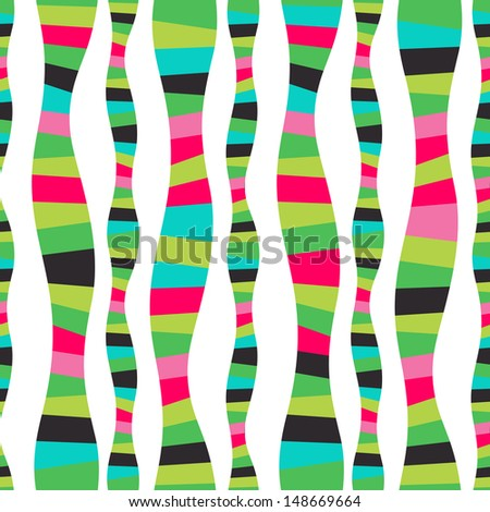 Vector wavy stripes. Mosaic seamless abstract wave background. Colorful abstract hand-drawn pattern, waves background. Serpentine stripe backdrop. Striped background. Watermellon. Bright backdrop. - stock vector