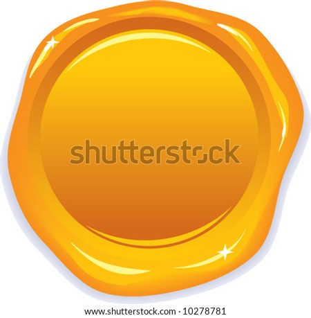 vector wax gold seal - add your own text! - stock vector