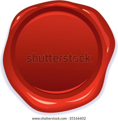 vector wax red seal - stock vector