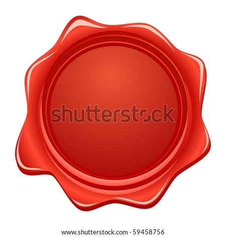 vector wax red seal - stock vector