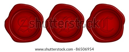 Vector wax seal with letter - stock vector