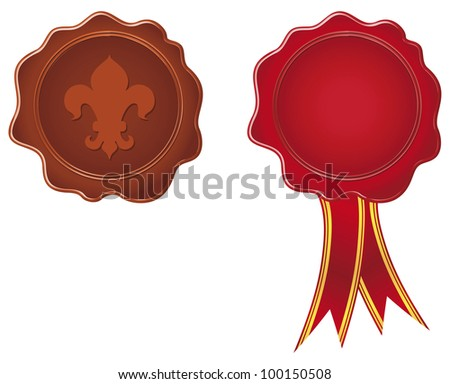 Vector  Wax seal with ribbon