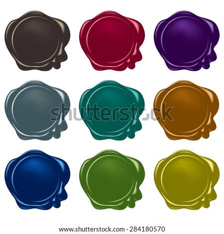 vector wax seals collection - stock vector