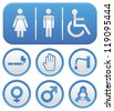 Vector wc sign - abstract icons in blue color - stock photo