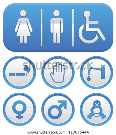 Vector wc sign - abstract icons in blue color - stock vector