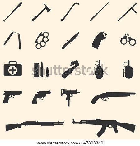 vector weapon icons: baseball bat, ax, crowbar, telescopic baton, nunchaku, brass knuckles, knife, stun gun, handcuffs, first aid kit, ammo,  grenade, pistol, revolver, Ingram,  shotgun, AK-47. - stock vector