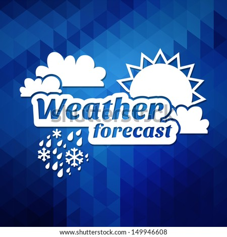 Vector weather forecast for TV or web. Clouds and sun and typography on the dark background - stock vector