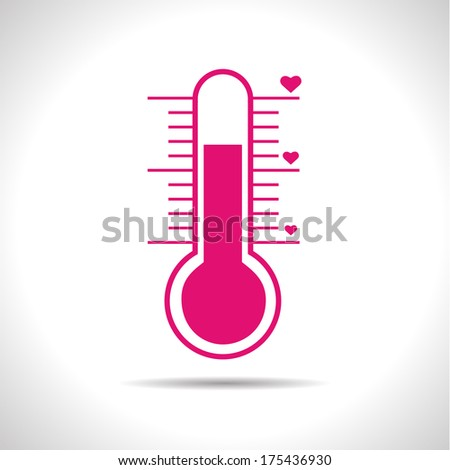 Vector weather icon. Pink love  thermometer. Eps10 - stock vector