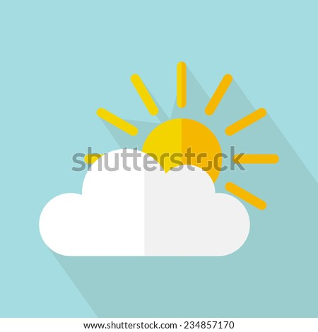 Vector weather icon, sun with cloud. Flat design - stock vector
