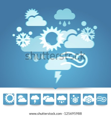 Vector weather icons in blue color - stock vector