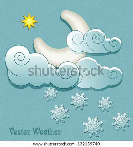 Vector weather icons in retro style. Moon in the clouds with star and snowflakes