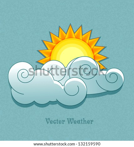 Vector weather icons in retro style. Sun behind the clouds.