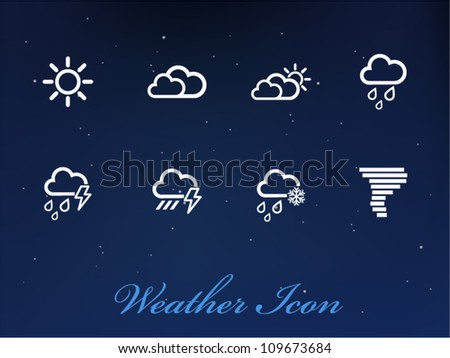 Vector Weather icons on sky background - stock vector