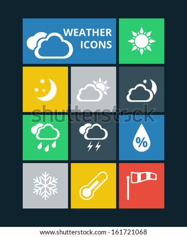 Vector weather icons set - stock vector