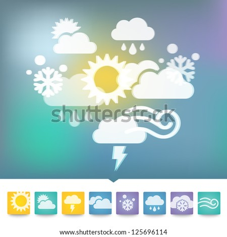 Vector weather multicolored icons - stock vector