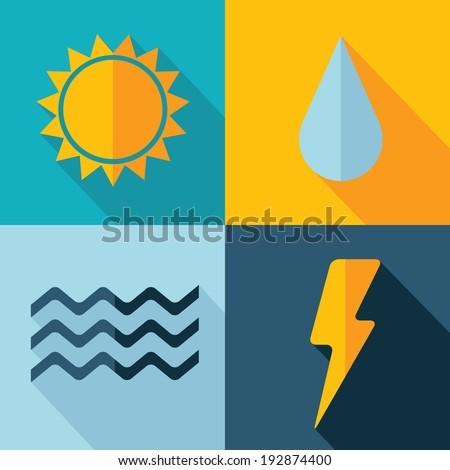 Vector weather set icon. sun flash drop wind. Eps10 - stock vector