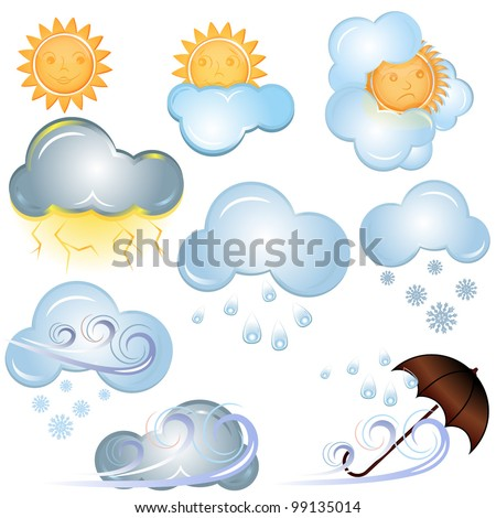 Vector weather signs isolated on white background. - stock vector