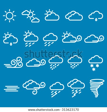 Vector weather symbols set with editable strokes - stock vector