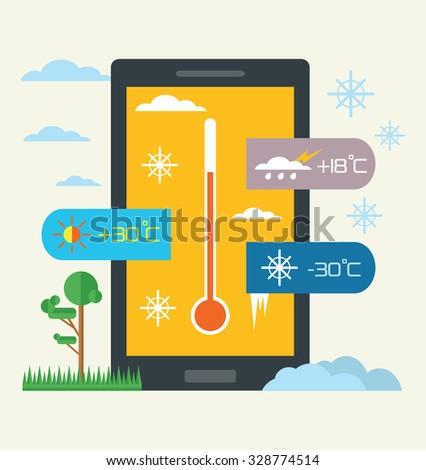 Vector weather widget. Flat illustration - stock vector