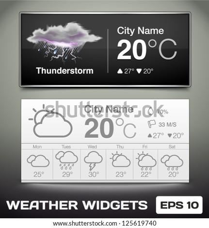 Vector Weather Widgets - stock vector