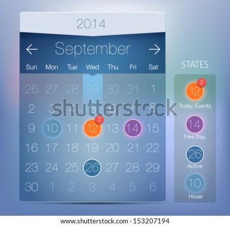 Vector Web an UI Calendar. Modern flat style - stock vector
