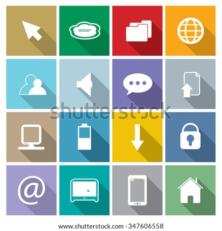 Vector web and computer icons set.