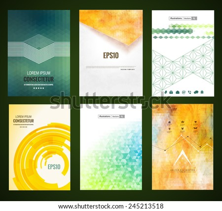 Vector web and mobile interface template. Corporate website design. Abstract vector brochure, Web sites, page, leaflet, with colorful geometric triangular backgrounds, logo and text separately.  - stock vector