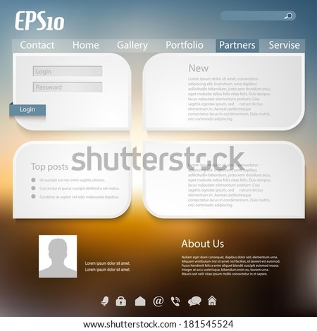 Vector web and mobile interface template. Corporate website design. Minimalistic multifunctional media backdrop. Vector. Editable. Blurred.  - stock vector