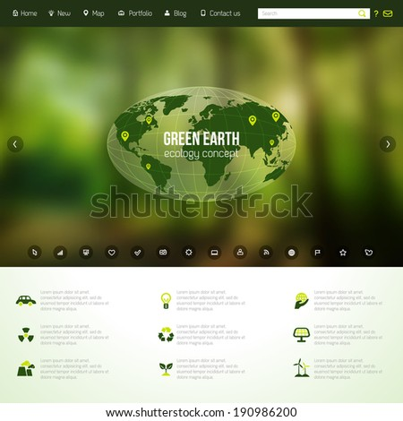 Vector web and mobile interface template. Corporate website design. Minimalistic multifunctional media backdrop. Vector. Editable. Blurred. Ecology icons. - stock vector