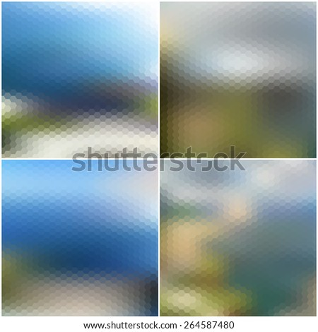 Vector web and mobile interface templates. Blurred hexagonal backgrounds set. - stock vector