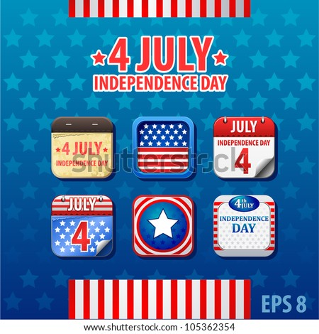vector web app icon Independence day 4th of July - stock vector