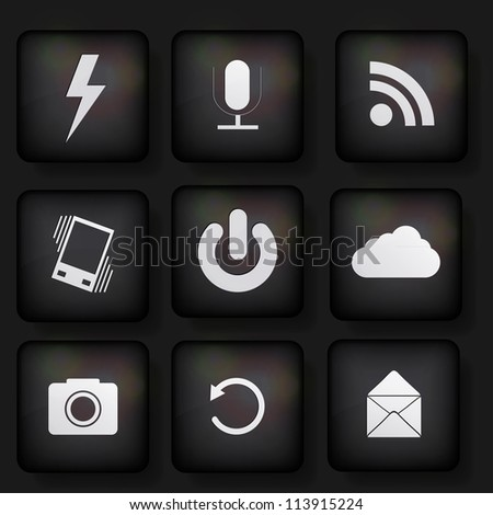 vector web app icon set on black background. Eps10 - stock vector