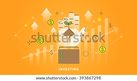 Vector web banner on the theme: investing, money, Deposit. How to make money. Sprout in hand. Linear and flat design. - stock vector