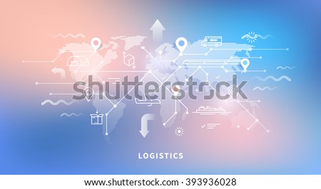 Vector web banner on the theme of Logistics, Warehouse, Freight, Cargo Transportation. Storage of goods, Insurance. Modern flat design. Neon background. - stock vector