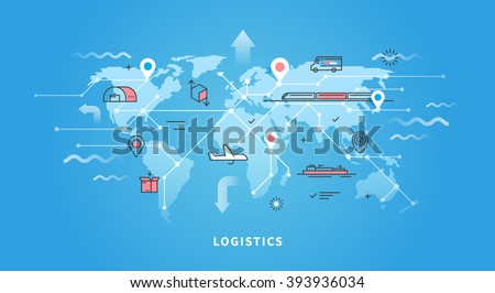 Vector web banner on the theme of Logistics, Warehouse, Freight, Cargo Transportation. Storage of goods, Insurance. Modern flat design. - stock vector