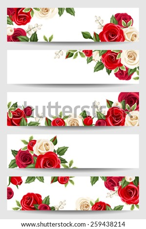 Vector web banners with red and white roses. - stock vector