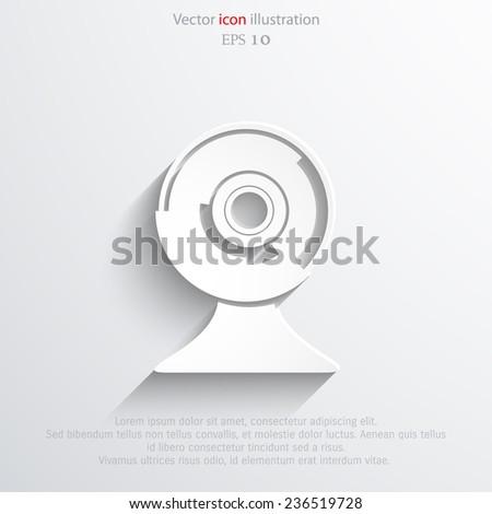 Vector web cam flat icon. Eps 10 illustration. - stock vector