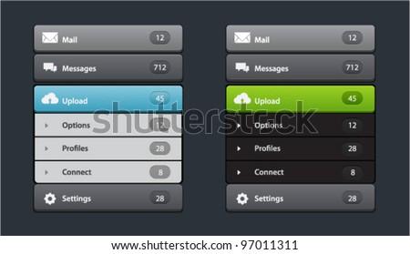 Vector web design navigation menu in two colors - stock vector