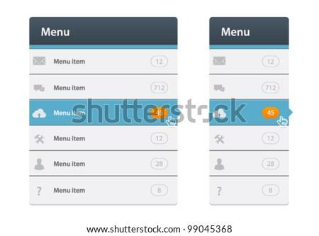 Vector web design navigation menu in two variation - stock vector