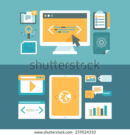 Vector web development and digital content marketing concepts in flat style - icons and illustrations for horizontal website headers  - stock vector