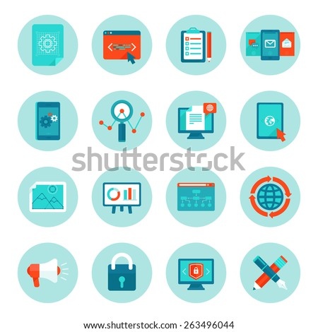 Vector web development and digital marketing icons in flat style - illustrations and signs on circle background - stock vector