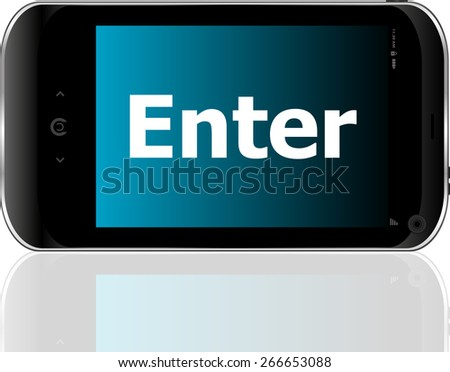 vector Web development concept: smart phone with word enter on display - stock vector