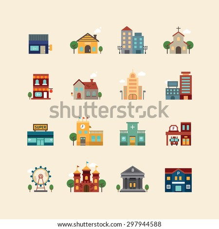 vector web flat icons set - buildings collection of city design elements.  - stock vector