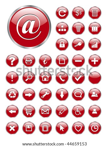 vector web icons red glass for business and office - stock vector