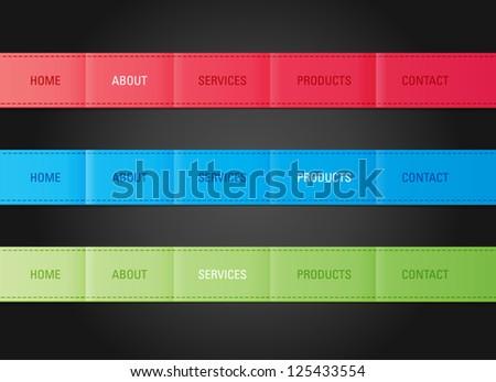 vector web navigation menu bar templates set