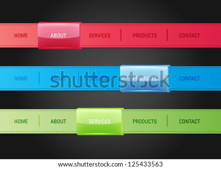Vector web navigation menu bar templates stock vector hd royalty vector web navigation menu bar templates set with glossy plastic sliders ccuart Gallery
