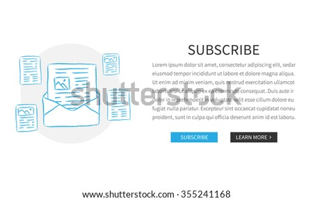 Vector web page Subscribe template with hand-drawn newsletters. Design concept illustration with white background.  - stock vector