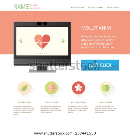 Vector web page template with monitor, warm colors, flat style icons, landing page design, EPS 8 - stock vector