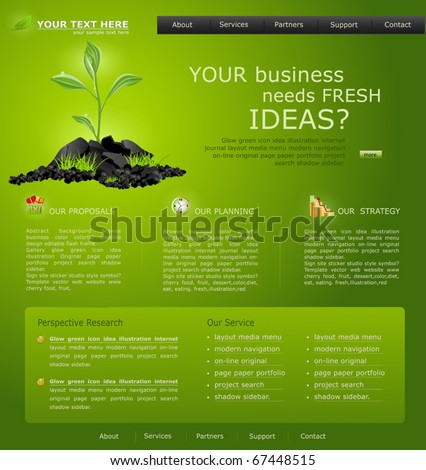 Vector Web site for business. green with green sprout - stock vector